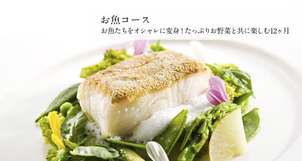 お魚コース お魚たちをオシャレに変身!たっぷりお野菜と共に楽しむ12ヶ月